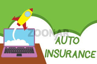 Text sign showing Auto Insurance. Conceptual photo Protection against financial loss in case of accident Successful rocket launching clouds out laptop background. Startup growing.