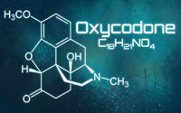 Chemical formula of Oxycodone on a futuristic background