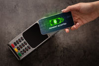 Hand paying with bitcoin