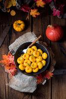 delicious autumnal dumplings with hokkaido pumpkin puree