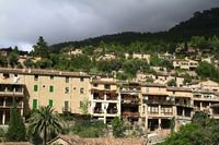 Panoramic view of the mediterranean village of Deja in Mallorca, Spain