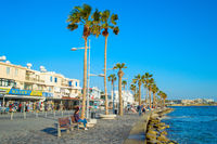 People Paphos promenade embankment Cyprus