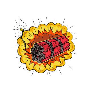 TNT Dynamite Stick Lit Fuse Exploding Drawing