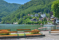 Promenade in Traunkirchen at Lake Traunsee,upper austria region,Austria