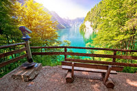 Konigssee Alpine lake idyllic sun haze view