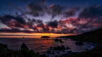 Color image of a beautiful sunset overlooking the Pacific Ocean in Northern California.