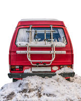 Retro Camper In The Snow