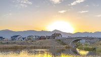 Sunset view at Oquirrh Lake in Daybreak Utah