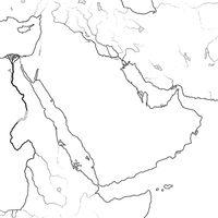 World Map of ARABIAN PENINSULA: Middle East, Saudi Arabia, Iraq, Persian Gulf, The Emirates. Geographic chart.