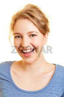 Lachende junge Frau mit offenem Mund