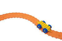 Toy train on the road. Kids toys. Toy constructor.