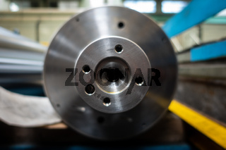Steel Cylinder Milling Equipment Closeup Hub Coupling Screw Holes Stainless