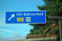 highway sign hamburg-bahrenfeld, b431,p+r,
