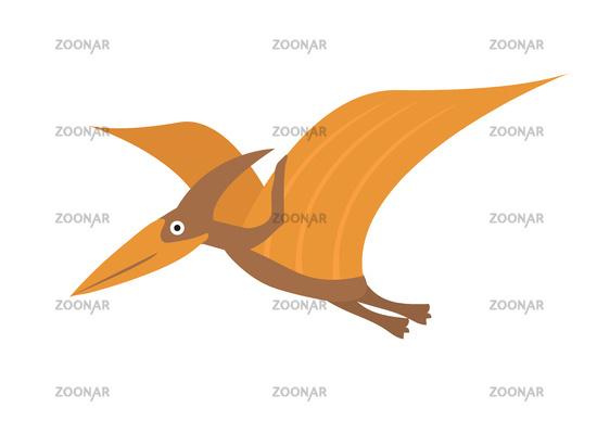 Pterosaur flat style icon. Isolated on white background. Vector illustration