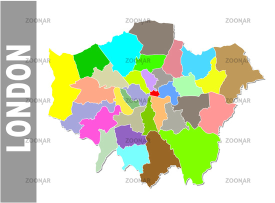Colorful London administrative and political map with coat of arms