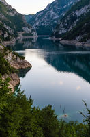 Piva Lake (Pivsko Jezero) evening view in Montenegro.