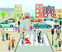 City view with pedestrian crossing and People, illustration