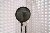 microphone on mic stand in soundproof isolation booth for vocal recording at sound studio