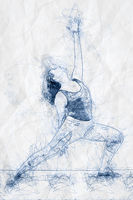 yoga woman ballpoint pen doodle illustration