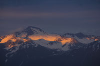Mount Hoch Ducan at sunset. View from Obermutten, Switzerland.