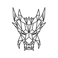 Dragon Head Front Low Poly Black and White
