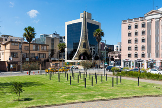 Julio Andrade Park and Eifell Center with sun Quito Ecuador