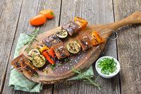 Vegetarian Skewers with seitan