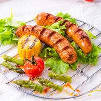 grilled tasty krakauer sausage with boiled corn and green salad