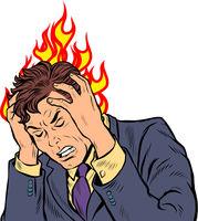 headache man. heat and temperature