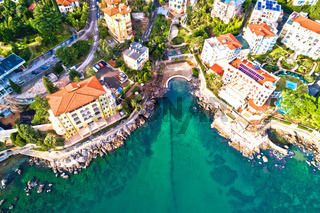 Scenic coastline of Opatija and Lungomare seaside walkway aerial view