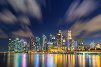 Singapore night city skyline at Marina Bay and Singapore business district