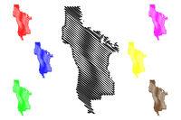 San Mateo County, California map vector