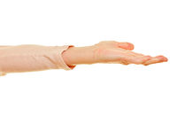 Offene Handfläche beim Hand aufhalten