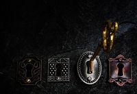 Vintage gold key and locks