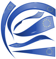 european flag set isolated on white background