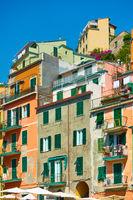 Houses in Riomaggiore town in Cinque Terre