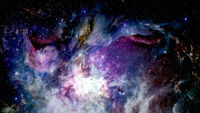 Infinite space background with nebulas and stars.