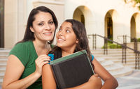 Proud Hispanic Mother and Daughter on Campus At School