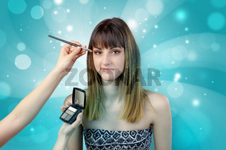 Graceful woman getting ready with shiny background