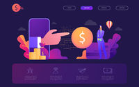 Landing page template of online banking modern flat design concept. Learning and people concept. Conceptual flat vector illustration for web page.