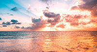 ocean sunset sky background with colorful cloud -