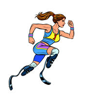 disabled runner woman with leg prostheses running forward. sports competition