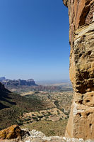 View from the rock-hewn church Abuna Yemata across the Hawzien Plateau, Gheralta, Tigray, Ethiopia