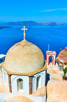 Dome of old greek church in Thira