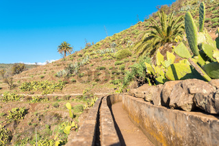 Landscape and hiking trail in the hill country of the island of La Gomera