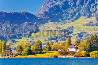 Luzern lake and Swiss Alps landscape view