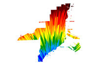 Miami city (United States of America, USA, U.S., US, United States cities, usa city)- map is designed rainbow abstract colorful pattern, City of Miami map made of color explosion,