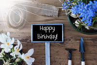Sunny Spring Flowers, Sign, Text Happy Birthday