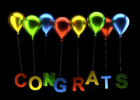Colorful balloons with congrats