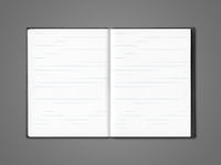 Blank open lined notebook isolated on dark grey